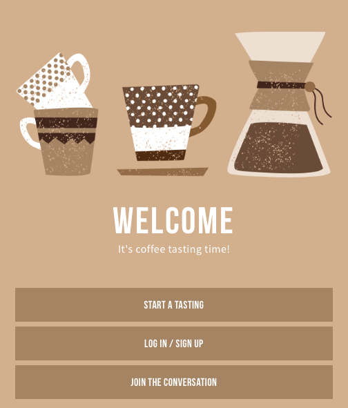 Angels cup coffee app welcome